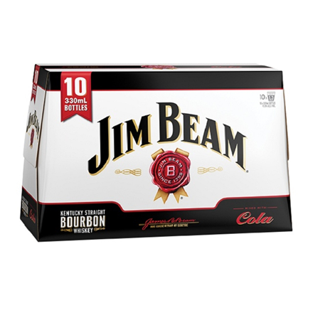 JIM BEAM Cola 10 Pk Btls JIM BEAM 10 Pk Btls
